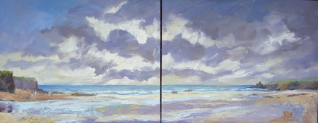 Treyarnon Bay Diptych  - click to visit artists gallery ->