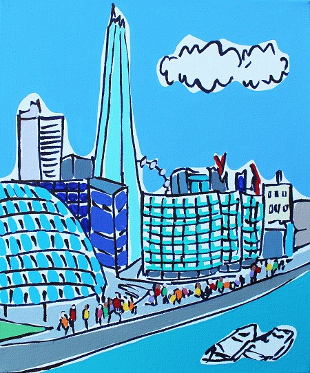 Mini Shard and Thames  - click to visit artists gallery ->