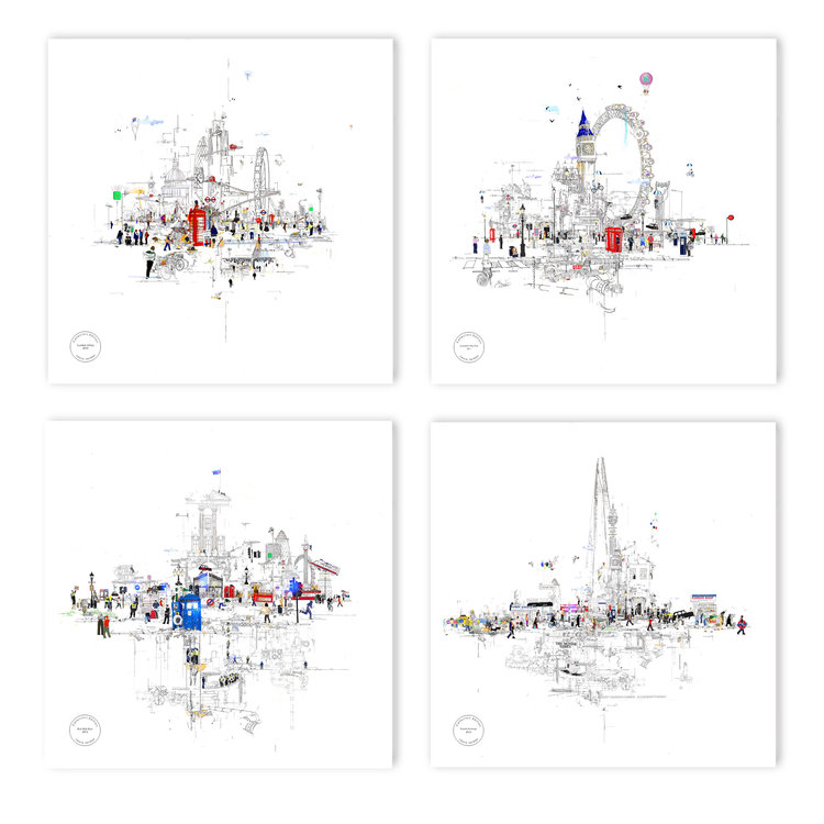 Collectors Editions set of 4 - London  - click to visit artists gallery ->